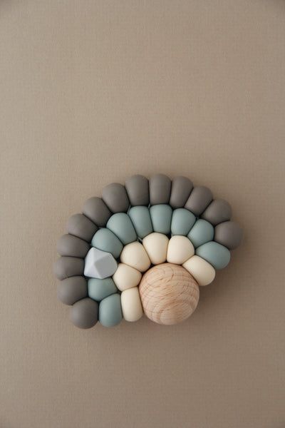 Silicone + Wood Rainbow Toy - Winter Grey