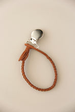 Braided Leather Pacifier Holder - Brown