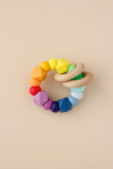 Silicone + Wood Ring Toy - Rainbow