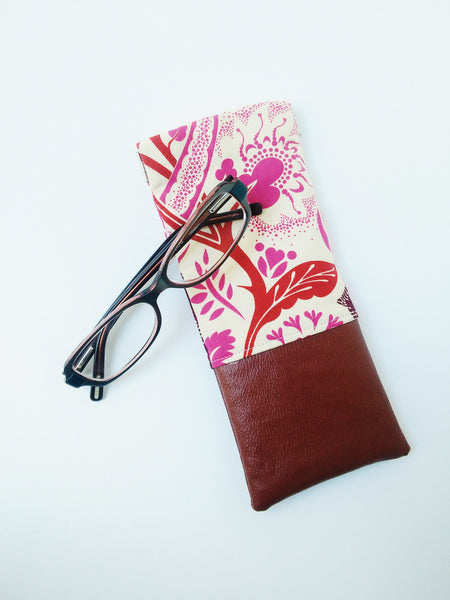 Floral and Leather Flex Frame Glasses Case