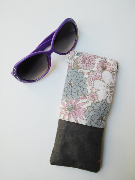 Floral and Suede Flex Frame Glasses Case