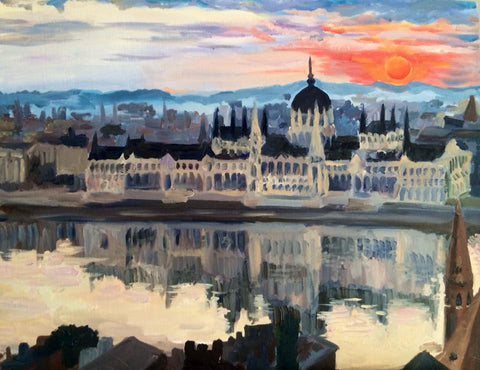 Buda from Pest. Oil On Canvas.