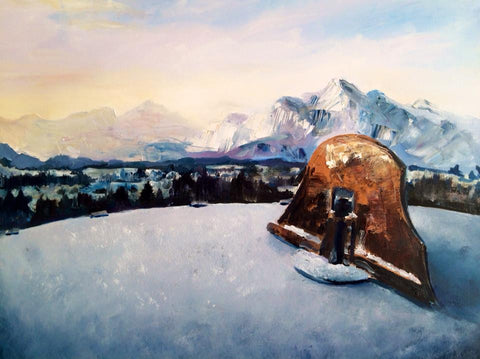 Sundial in the Alps. Oil on Canvas