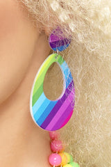 Neon Multi-coloured Teardrop Earrings