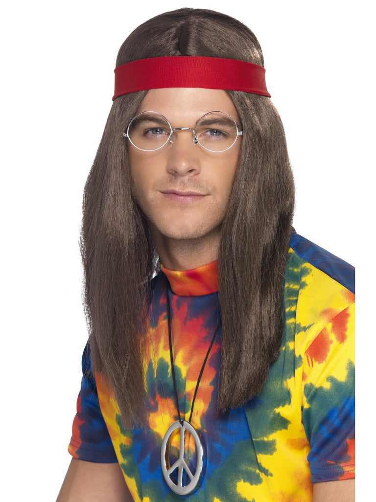 Hippy Man Kit - Brown Wig, Specs & Peace Sign
