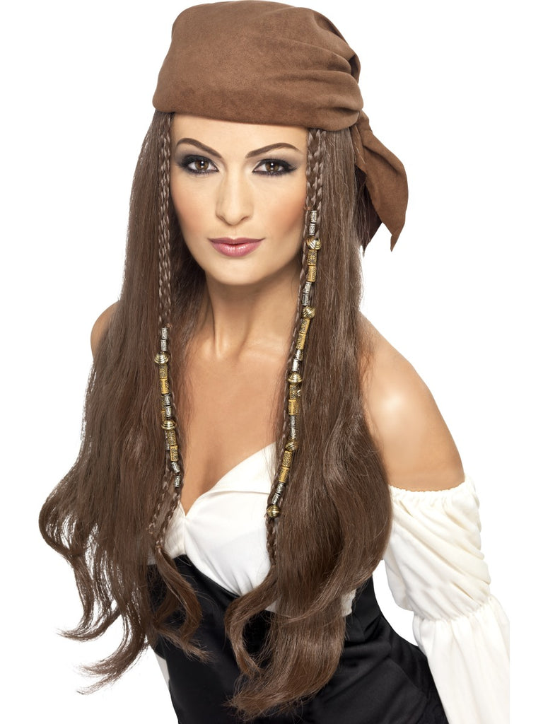 Pirate Wig with Bandana, Beads & Charms