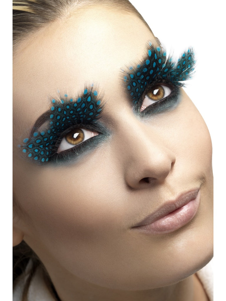 Fever Eyelashes - Large Feather with Aqua Dots