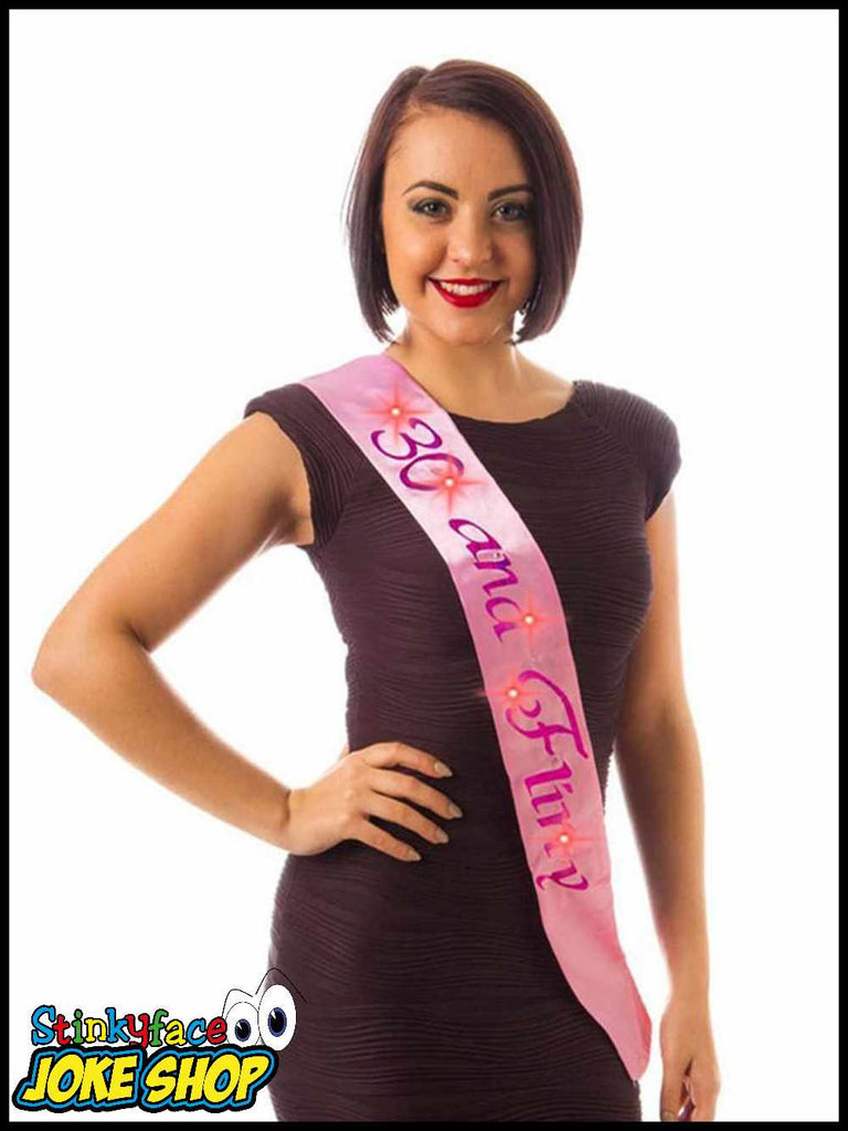 Flashing 30 & Flirty Pink Birthday Sash