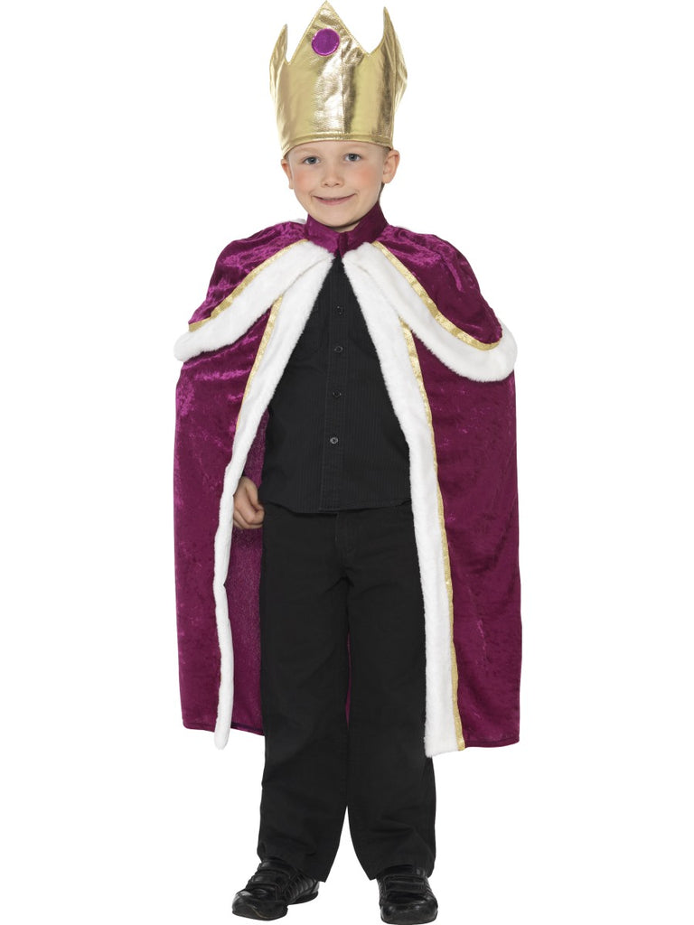 King Costume, Purple, with Robe & Crown