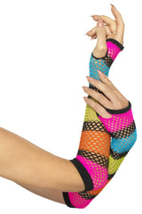 Fishnet Gloves Long Neon with Black Stripe
