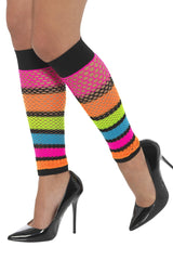 Fishnet Legwarmers Neon with Black Stripe