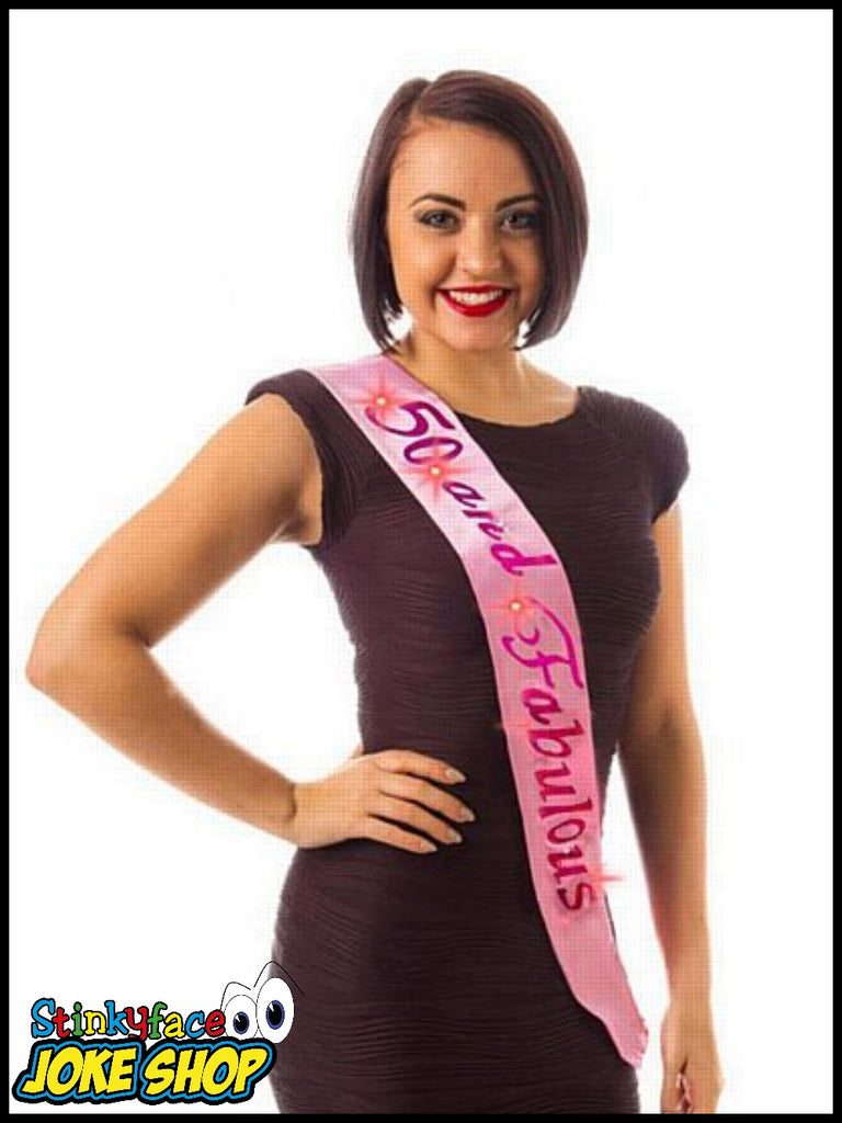 Flashing 50 & Fabulous Pink Birthday Sash