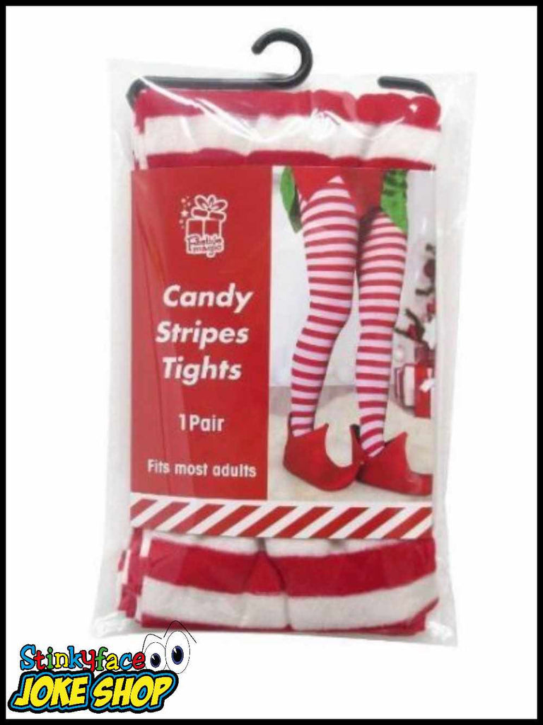 Christmas Red & White Striped Tights
