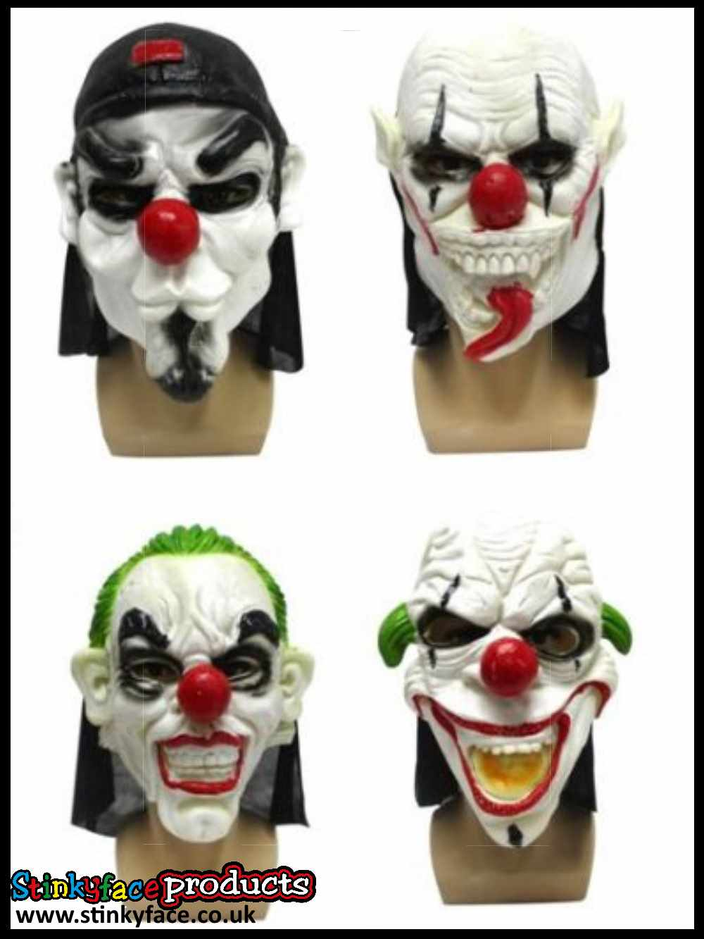 Clown Masks (4 Assorted)