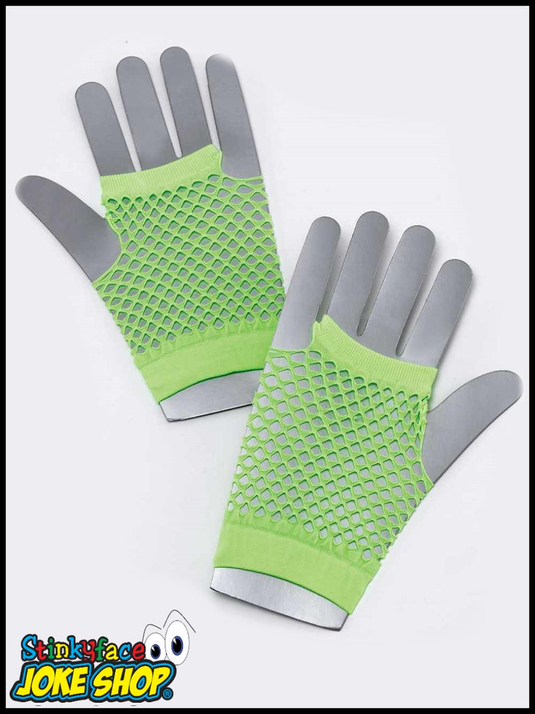 Fishnet Gloves Short Neon Green