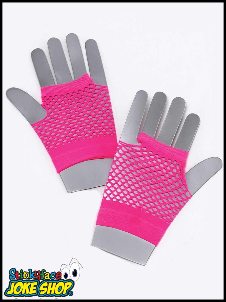 Fishnet Gloves Short Neon Pink