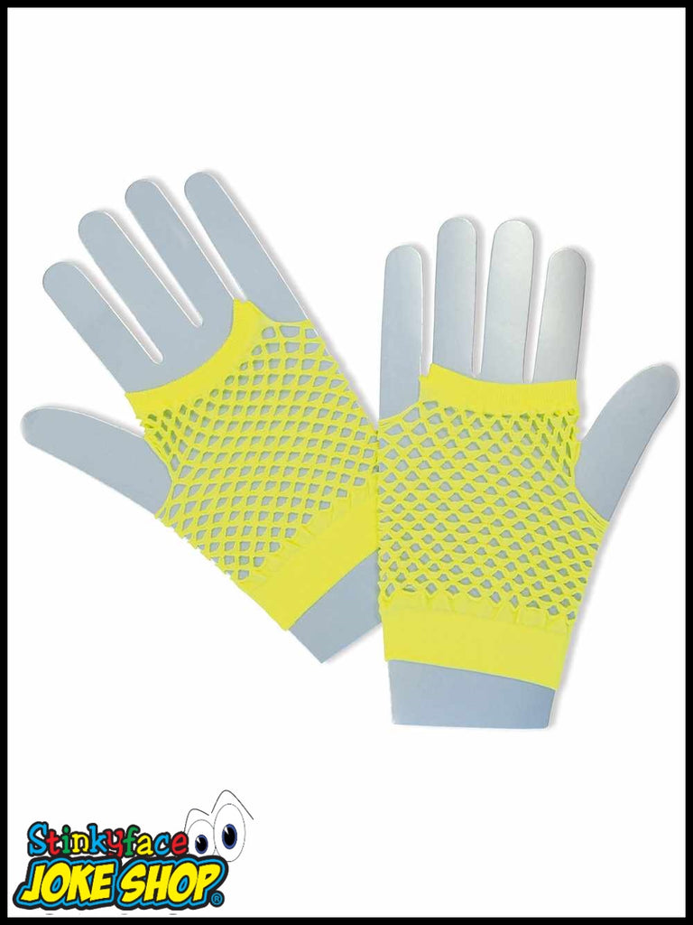 Fishnet Gloves Short Neon Yellow