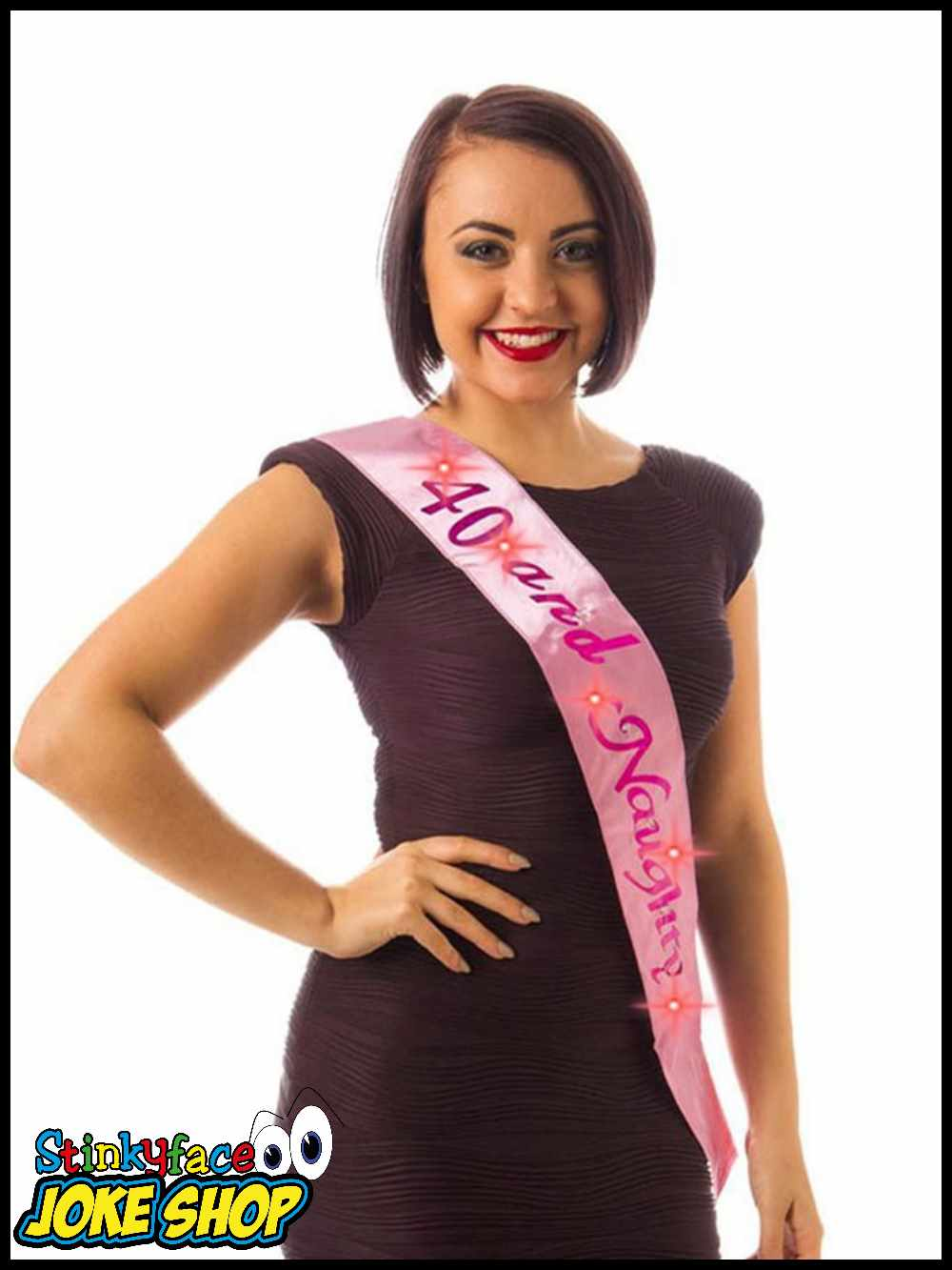 Flashing 40 & Naughty Pink Birthday Sash