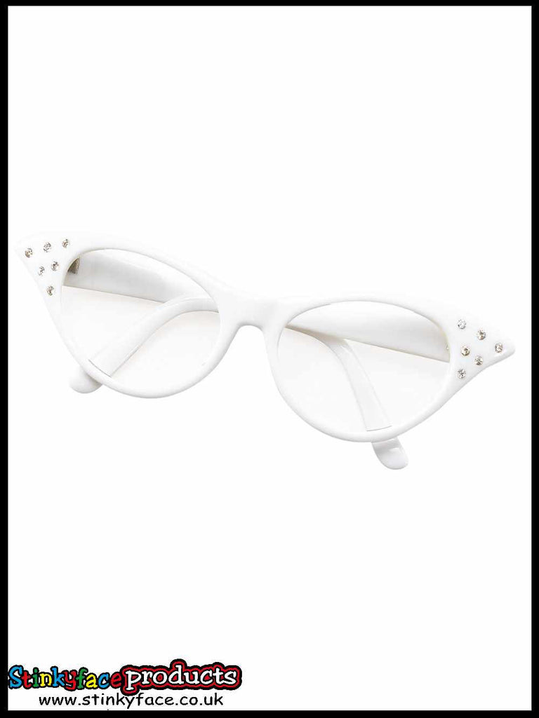Glasses - 50's Female Style White