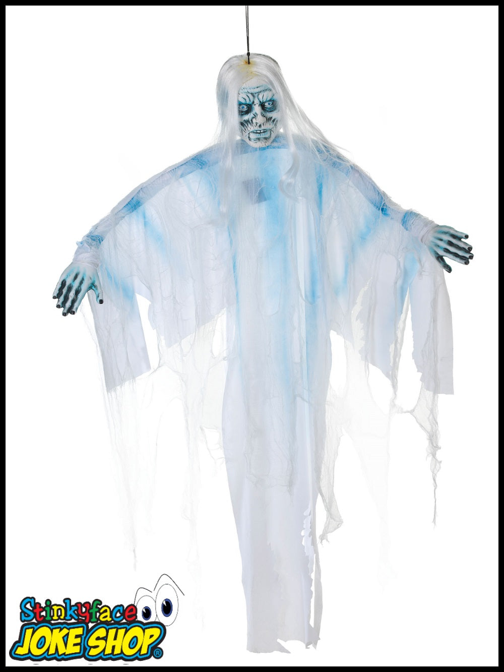 6ft Light Up Hanging White Ghost Shroud