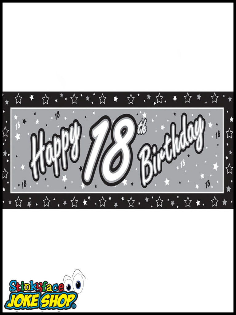 Giant Happy 18th Birthday Silver Foil Banner