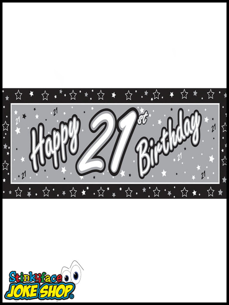 Giant Happy 21st Birthday Silver Foil Banner