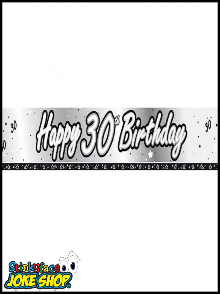 Happy 30th Birthday Silver Foil Banner