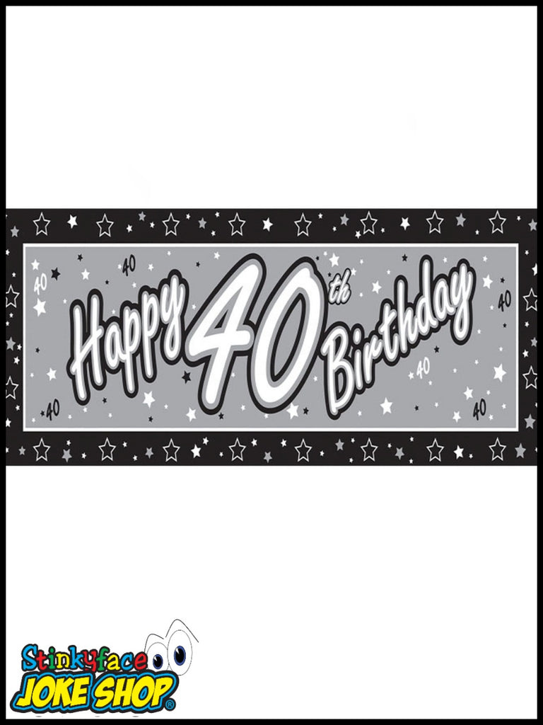 Giant Happy 40th Birthday Silver Foil Banner
