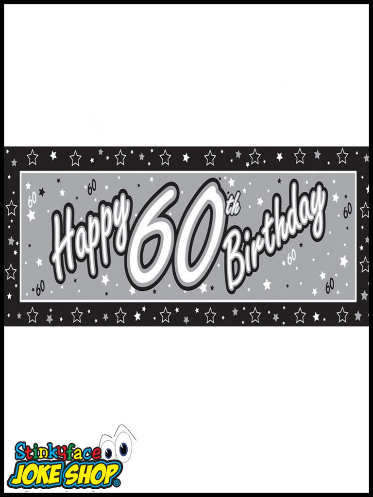 Giant Happy 60th Birthday Silver Foil Banner