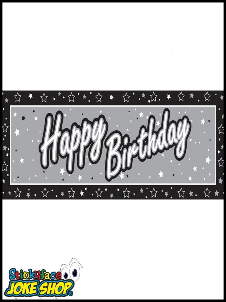 Giant Happy Birthday Silver Foil Banner