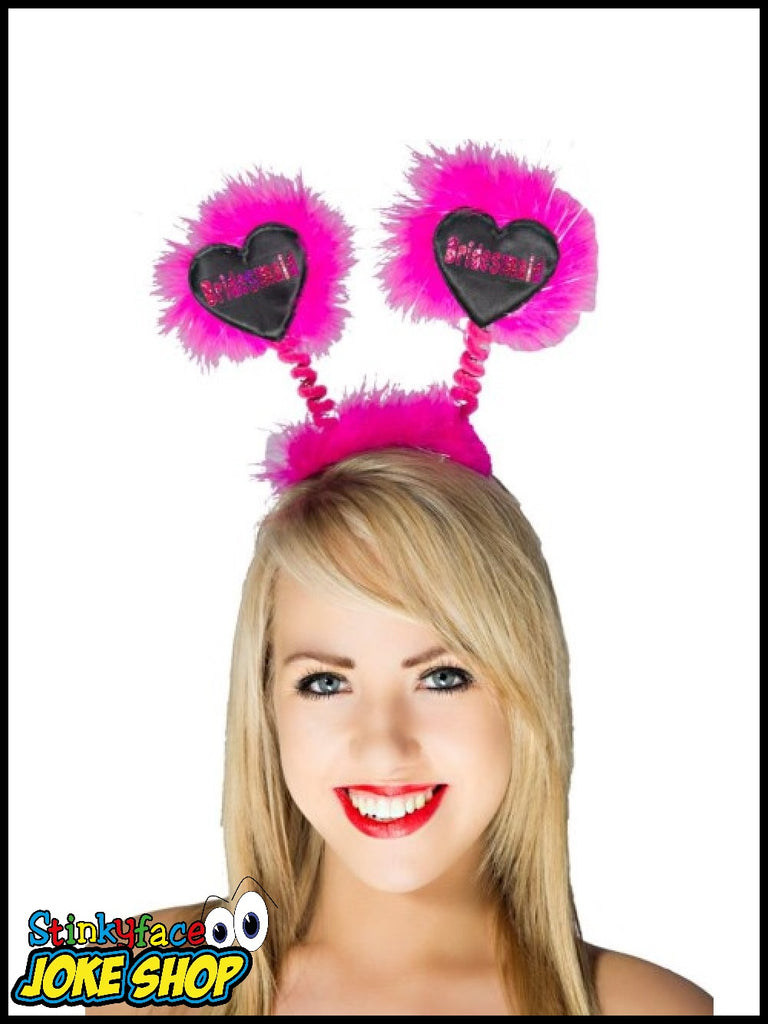 Hot Pink Bopper Bridesmaid on Hot Pink Foil on Black Heart