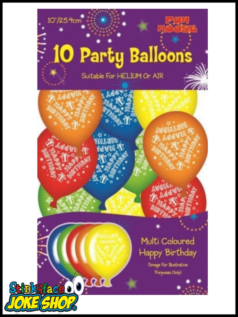 Happy Birthday Party Balloons Multi Pack 10pk