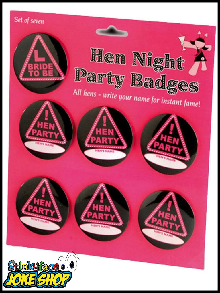 Personlised Set of 7 Hen Party Badges