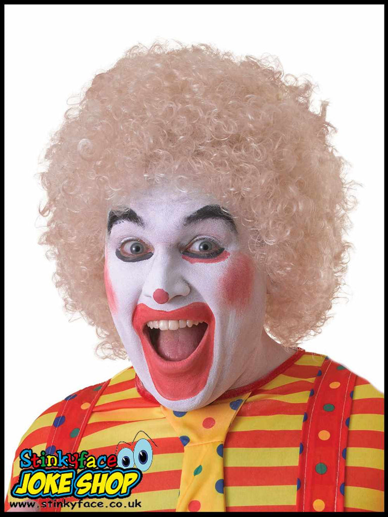 Curly Blonde Afro Clown Wig