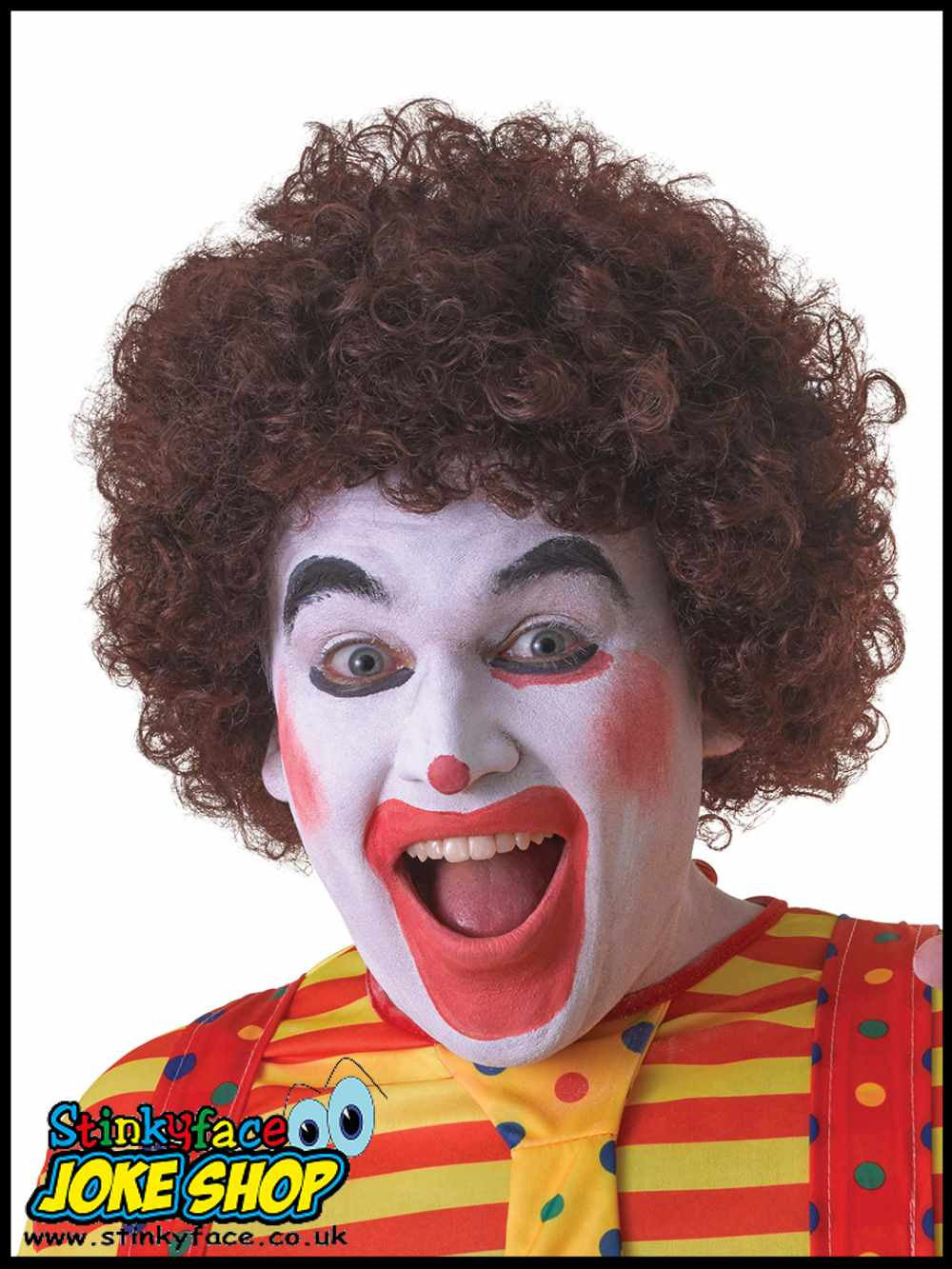 Curly Brown Afro Clown Wig