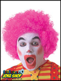 Curly Pink Afro Clown Wig