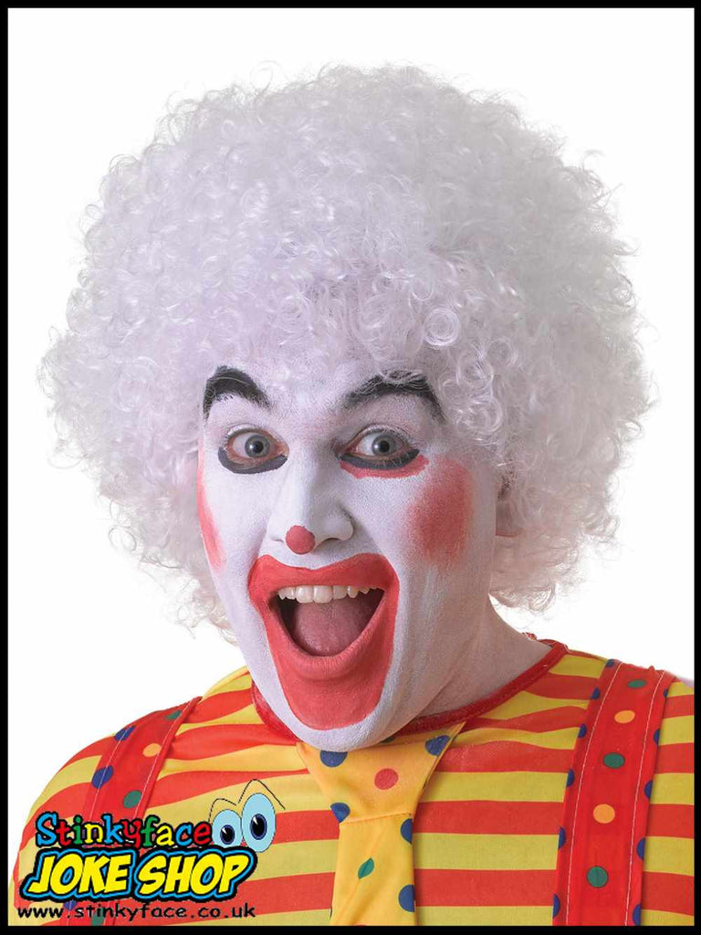 Curly White Afro Clown Wig
