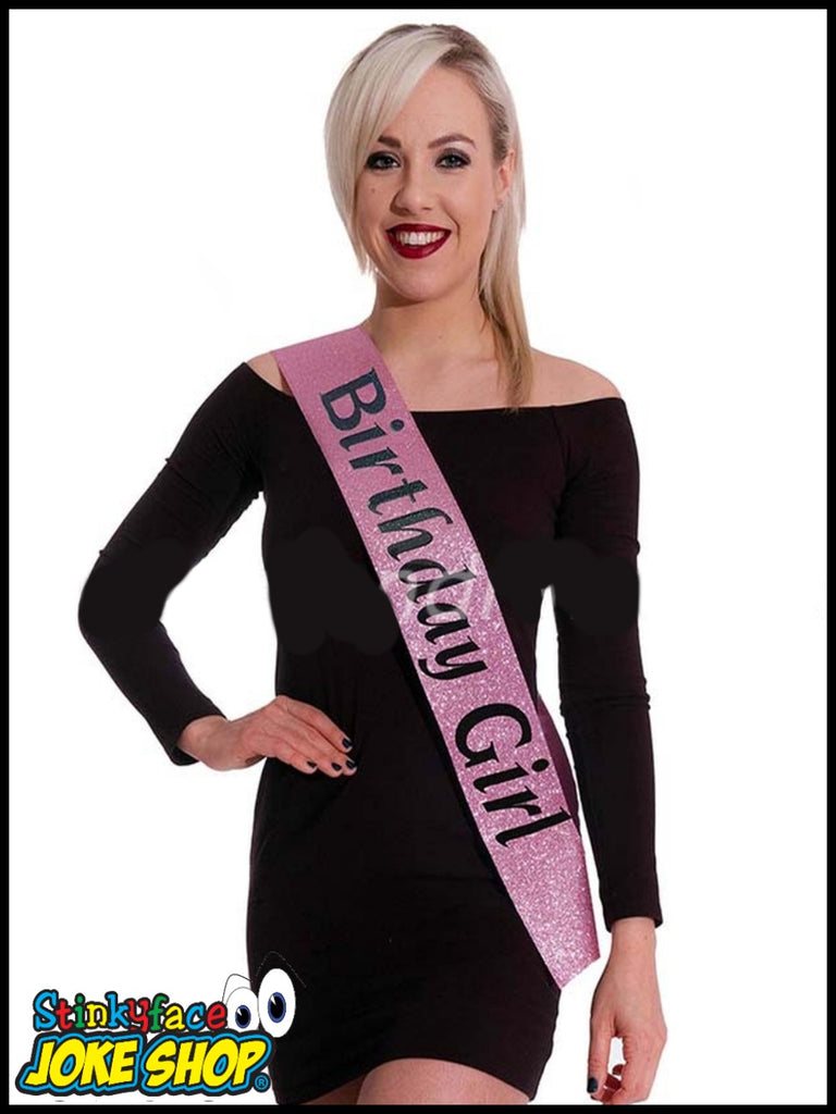 Rose Pink Glitter Birthday Girl Sash