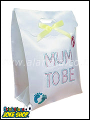 White Mum to Be Diamante Gift Bag