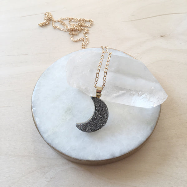 BLACK CRESCENT MOON PENDANT