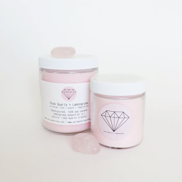 ROSE QUARTZ + LEMONGRASS {100% soy crystal candle}