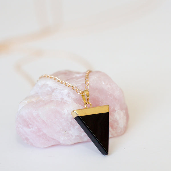 BLACK OBSIDIAN POINT NECKLACE