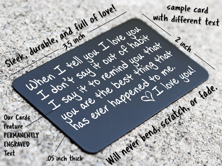 Boyfriend Police Engraved Wallet Card Love Note Anniversary Gift For Men The Perfect Anytime Gift for Your Man Husband Firefighter