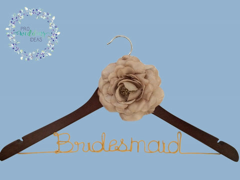 Bridesmaid Wooden Coat Hanger Bridal Gift Vintage Style 01