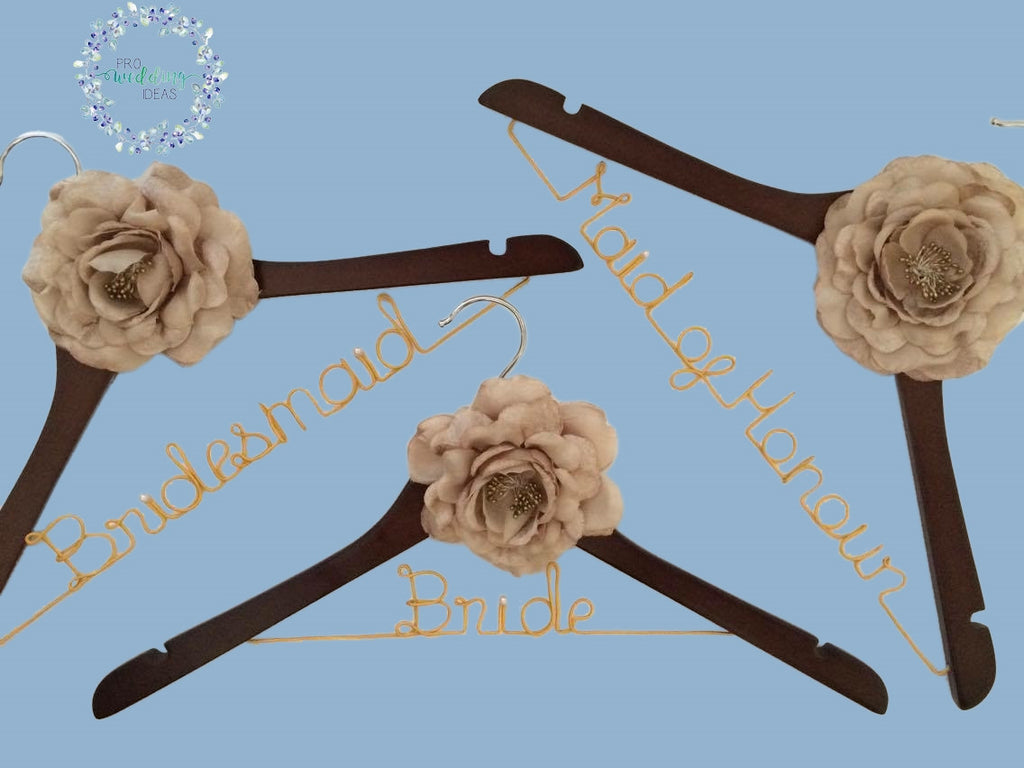3 Pcs Set Personalised Bridal Coat Hangers Brown Style 01