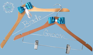 * Bride & Groom Bridal Coat Hangers with Blue Bow Style