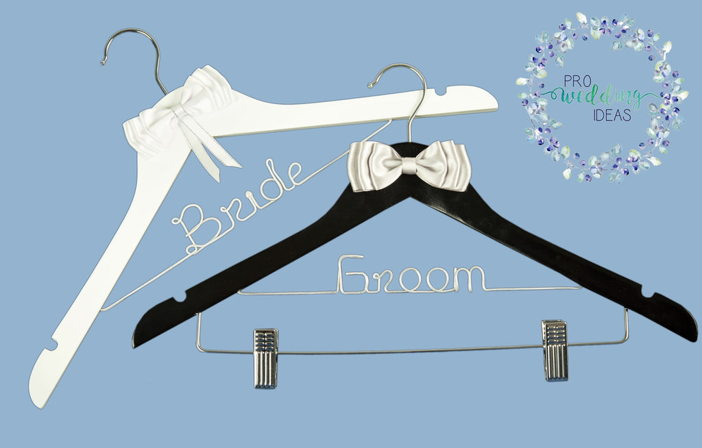 Bride & Groom Wooden Coat Hangers Bow Style