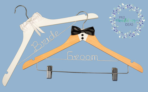 * Bride & Groom Coat Hanger 2 Pcs Set Tuxedo Style