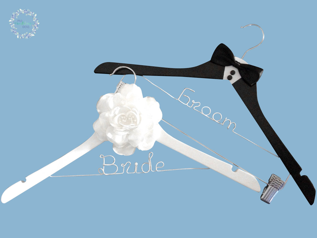 * Bride & Groom Coat Hanger Tuxedo Style + Large Flower