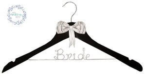Bride - Personalised Wooden Coat Hanger Silver Bow Style